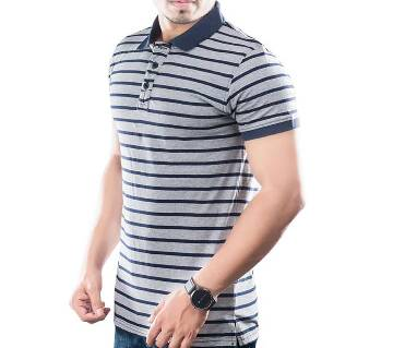 Winner Mens S/S Polo shirt - 43576 - GREY & NAVY STRIPE