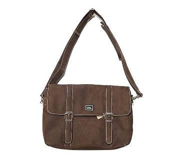 Fortuna Bangladesh Brown Microsuede Messenger Bag for Men