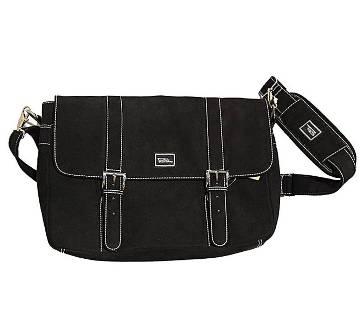Fortuna Bangladesh Black Microsuede Messenger Bag for Men