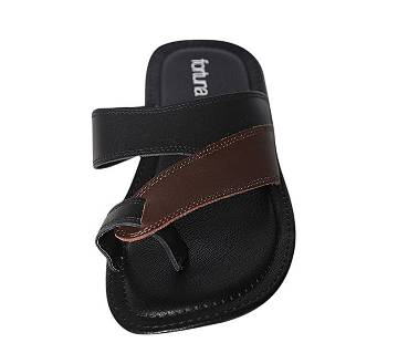 Fortuna Bangladesh Brown and Black Leather Sandals for Men