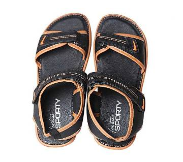 Fortuna Bangladesh Black and Camel Pu Leather Sandals for Men