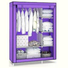 Stainless Steel and Fabric Storage Wardrobe - Purple