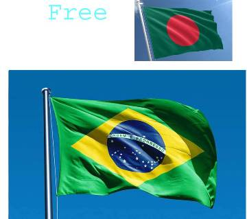 Brazil Flag 5 Feet with Sublimation Print (Free Bangladeshi Flag)
