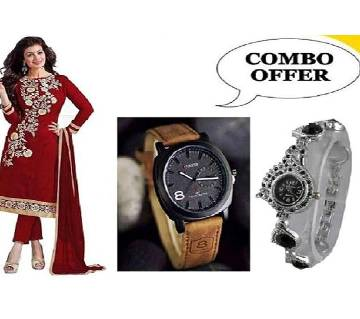 Block Print Cotton Three Piece - Gents & Ladies Watch Combo Offer