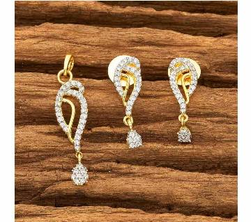 CZ DELICATE PENDANT SET WITH 2 TONE PLATING 57789 (by Pink Point - KJ57789)