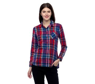 One Femme Women's Cotton Plaid Full- Sleeve Shirt (by One Femme - OFTPF019MCPP005P) - Small বাংলাদেশ - 6964811