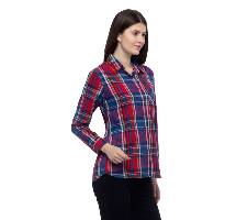 One Femme Women's Cotton Plaid Full- Sleeve Shirt (by One Femme - OFTPF019MCPP005P) - Small বাংলাদেশ - 6964813