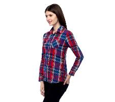 One Femme Women's Cotton Plaid Full- Sleeve Shirt (by One Femme - OFTPF019MCPP005P) - Small বাংলাদেশ - 6964814