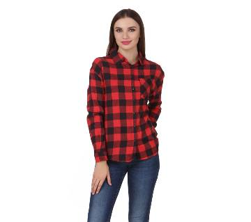 One Femme Women's Cotton Plaid Full- Sleeve Shirt (by One Femme - OFTPF019RDOO003O) - X-Small বাংলাদেশ - 6965091