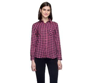 One Femme Women's Cotton Plaid Full- Sleeve Shirt (by One Femme - OFTPF019PNPP019P) - Small বাংলাদেশ - 6965401