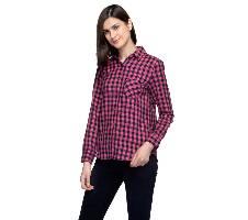 One Femme Women's Cotton Plaid Full- Sleeve Shirt (by One Femme - OFTPF019PNPP019P) - Small বাংলাদেশ - 6965403