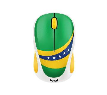 Logitech M238 Wireless Mouse (Brazil Flag Painted) - Free 1 pcs Brazil wristband