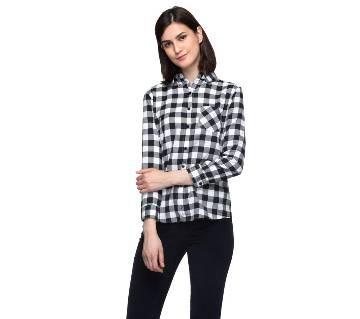 One Femme Women's Cotton Plaid Full- Sleeve Shirt (by One Femme - OFTPF019BKPP001P) - Small বাংলাদেশ - 6982461