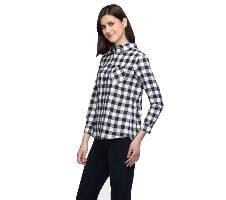 One Femme Women's Cotton Plaid Full- Sleeve Shirt (by One Femme - OFTPF019BKPP001P) - Small বাংলাদেশ - 6982463