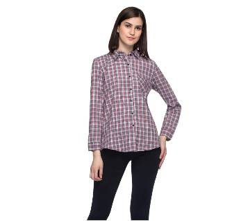 One Femme Women's Cotton Plaid Full- Sleeve Shirt (by One Femme - OFTPF019MCRR015R) - Large বাংলাদেশ - 6982831
