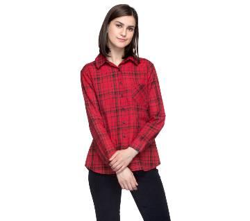 One Femme Women's Cotton Plaid Full- Sleeve Shirt (by One Femme - OFTPF019RDTT016T) - XX-Large বাংলাদেশ - 6983201