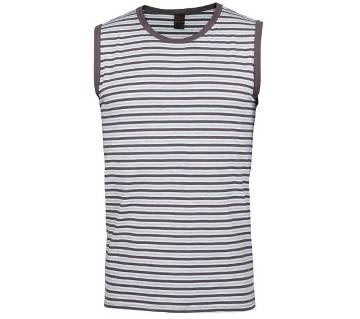Winner Mens Tank top - 43529 - White and Coffee stripe