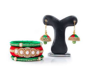 Red & Green  Color Silk Earring & Bangles