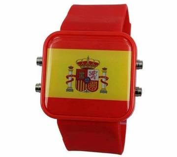 Spain Theme Silicon Belt LED Wrist Watch