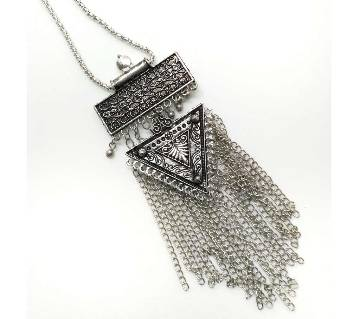 Oxidized Silver Afghani Tassel Necklace (by Zylph - NSAT)