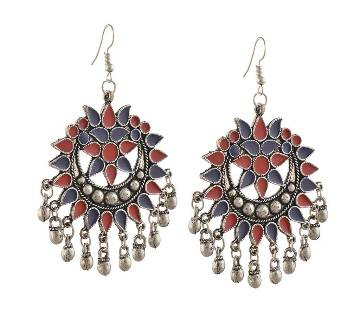 German Silver Afghani Dangler Hook Chandbali Earrings (by Zylph - ZYETCBR)