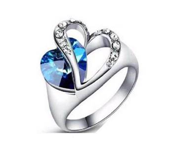 Heart shaped blue stone setting finger ring
