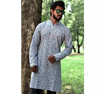 Gents semi long printed cotton punjabi
