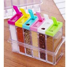 Transparent Spice Storage Pot - 6 pcs