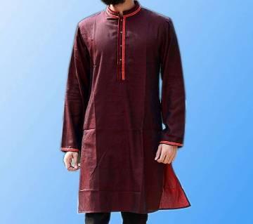 Contrast Design Semi Long Cotton Punjabi
