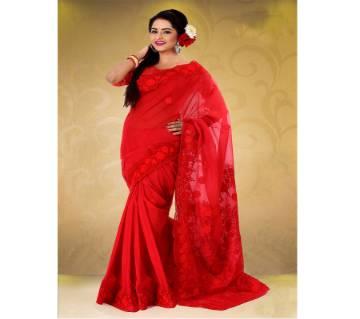 pure red moslin silk