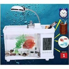 Lileng-920 Mini USB Aquarium LCD Fish Tank Display Clock Led Lamp Light Assorted