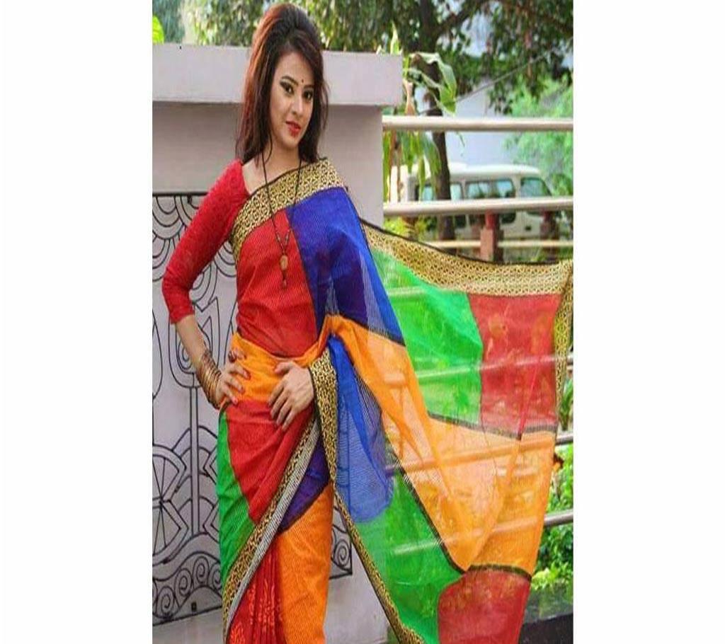 পিওর কোটা সিল্ক শাড়ি উইথ হ্যান্ড ব্লক ওয়ার্ক বাংলাদেশ - 650832