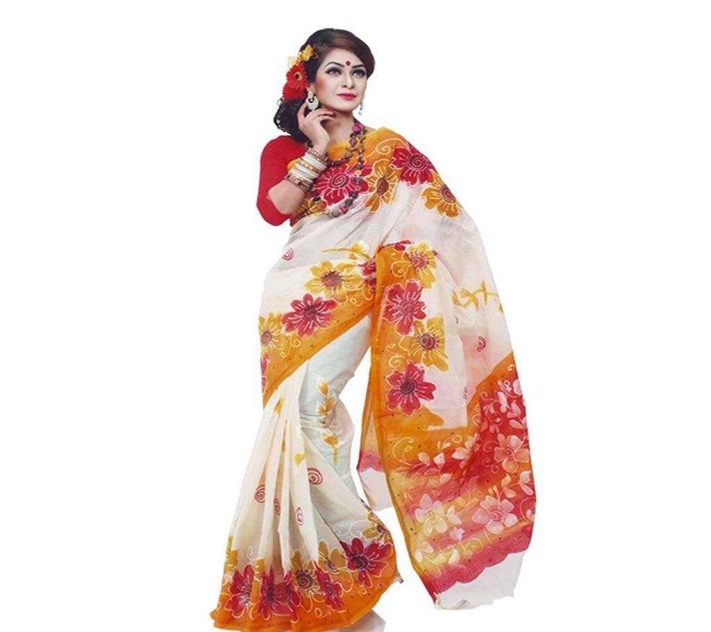 পিওর কোটা সিল্ক শাড়ি উইথ হ্যান্ড ব্লক ওয়ার্ক বাংলাদেশ - 650871