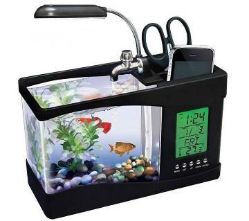USB Desktop Mini Aquarium With LCD Clock