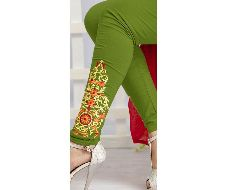 Green Embroidered Legging