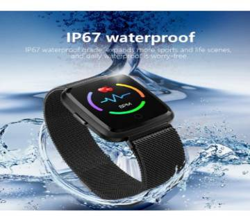 Highlights:  1.3 inch resolution 240RGB X 240 TFT large touch Screen Milanese steel belt Hardware platform: NRF52832, RAM / ROM: 64KB+ 4608KB Built-in 170mAh battery, standby time about 12-15 days IP67 waterproof and dustproof ( you can wear it to ra