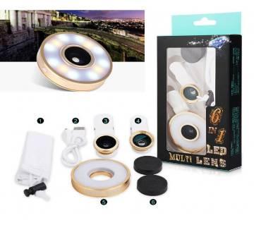 6 In 1 Selfie LED Flash Clip Fish Eye Lens Macro Wide Angle Lens