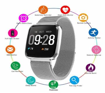 Y7 Smartwatch Waterproof Blood Pressure Pedometer Magnetic Metal Belt Fitness Tracker