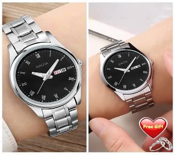 XIAOYA 2pcs Couple Watches Luminous Calendar Life Waterproof Lovers Quartz Wristwatches Clock- 2pcs