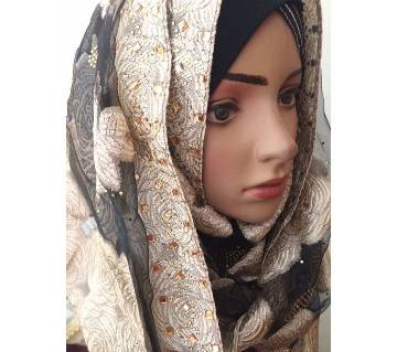 Jamdani design hijab with all over stone setting