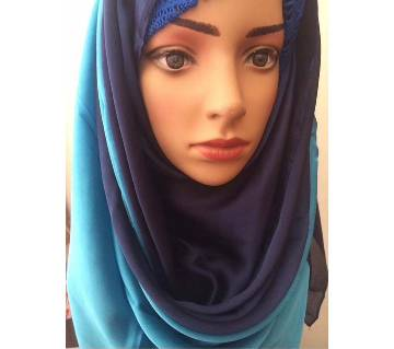 Dual color shaded original pure silk hijab