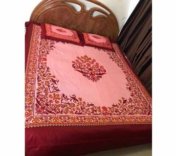 Printed Cotton Bed Cover With 2 Pillow covers