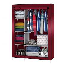 Stainless Steel and Fabric Storage Wardrobe - Red