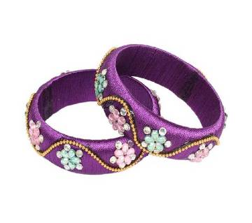 Purple Thread Bangles for Women - 2 Pieces