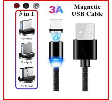 3 in 1 Magnetic Absorption Data Cable 360 LED Streamer Fast Charging Cable New