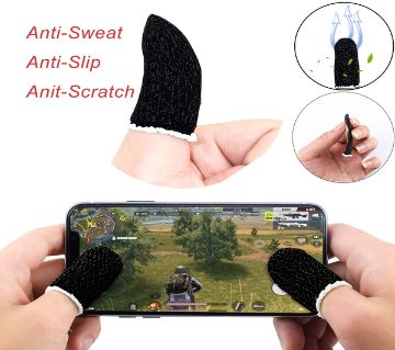 2 Pcs PUBG Finger Sleeves - Black Colour / Cover Sweat Proof Gaming Finger Gloves Non-Scratch Finger Sleeve Sensitive Mobile Touch Screen - Black Colo