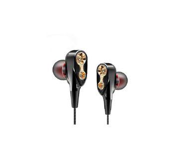 QKZ CK8 Dual Driver Audifonos Stereo Bass Sport Earphones - Black