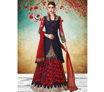 Semi Stitched Georgette Embroidered Long Gown