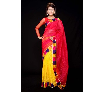 Multicolor half silk sharee