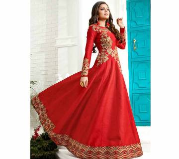 Semi-Stitched Georgette Embroidery Long Gown (Copy)